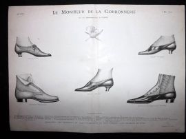 Le Moniteur de la Cordonnerie 1894 Rare Antique Shoe Design Print 18